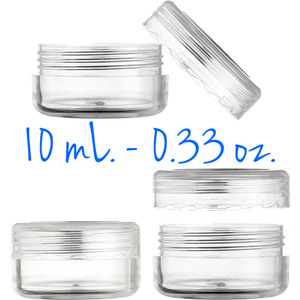 Clear Round Sample Jars - Threaded Jar and Clear Cap - 10 mL. - 0.33 oz. 400 Unassembled Jars (29511 X 2)