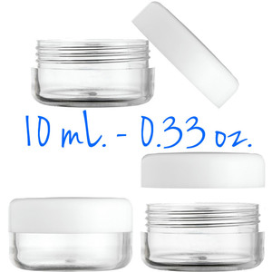 Clear Round Sample Jars - Threaded Jar and White Cap - 10 mL. - 0.33 oz. 400 Unassembled Jars (29512 X 2)