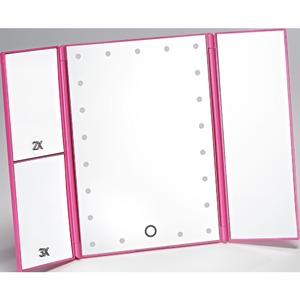 LED Lighted Table Top Folding Cosmetic Mirror - Three Panels - Pink Pack of 2 (513563 X 2)