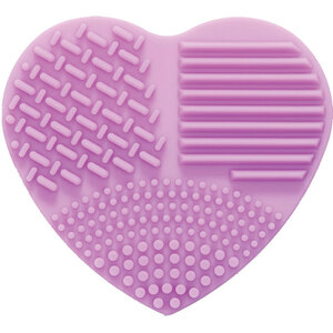 Heart Shaped Makeup Brush Cleansing Pad - Light Purple Silicone - Individually Wrapped Case of 36 (599810 X 36)