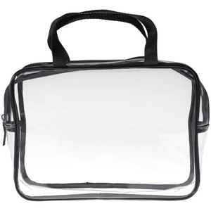 "Large Clear Carry-All Travel Bag - 11"" x 7.5"" x 3"" Each Case of 10 Bags (599987 X 10)"