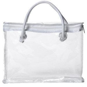 "Clear Zipper Bag with White Piping and Rope Handle - 8"" x 6"" x 1.5"" Each Case of 48 Bags (599784 X 48)"