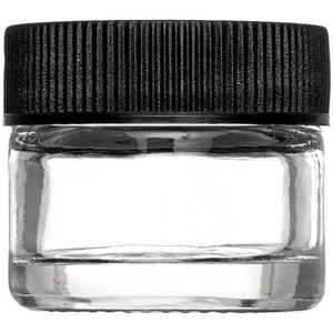 Thick Walled Clear Glass Sampling Jar - Black Threaded Cap with Liner - 5 Gram - 5 mL. - 0.17 oz. 250 Assembled Jars (29755 X 5)