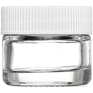 Thick Walled Clear Glass Sampling Jar - White Threaded Cap with Liner - 5 Gram - 5 mL. - 0.17 oz. 250 Assembled Jars (29756 X 5)