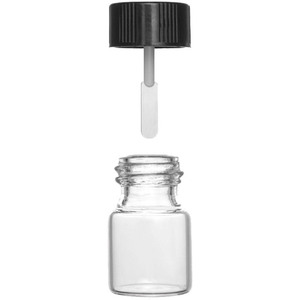 Dramming Bottle with Lined Black Cap and Attached Spatula - 3 mL. Each Case of 4 Boxes of 100 = 400 Assembled Bottle + Cap Sets (74239 X 4)