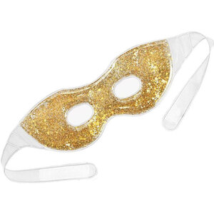 "Glitter Gel Eye Mask - Gold Sparkle - 9.5"" x 3.6"" Case of 30 - Individually Wrapped (505318 X 30)"