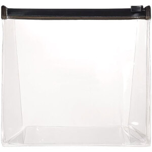 "Gusseted Slide Zipper Bag - Clear with Black Trim - 6"" x 6"" x 1.5"" Case of 65 Bags (599787 X 65)"
