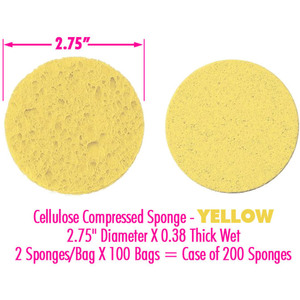 "Cellulose Compressed Sponge - Yellow - 2.75"" Diameter X 0.38 Thick Wet 2 Sponges Per Bag X 100 Bags = Case of 200 Sponges (513012 X 100)"