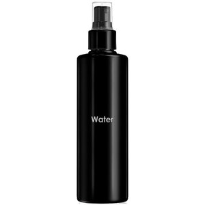 Empty Water Bottles - Printed Cylinder Bottle with Fine Mist Sprayer and Clear Overcap - Black 8.33 oz. - 250 mL. - Case of 75 Bottles (30063 X 75)
