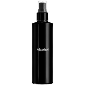 Empty Alcohol Bottles - Printed Cylinder Bottle with Fine Mist Sprayer and Clear Overcap - Black 8.33 oz. - 250 mL. - Case of 75 Bottles (30061 X 75)