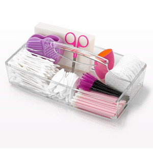"Rectangular Cosmetic Caddy with Carrying Handle and 2 Compartments - 10"" x 5.7"" x 3.3"" Case of 8 (10033 X 8)"