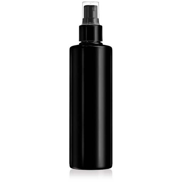 Black Plastic Cylinder Bottle With Fine Mist Sprayer and Clear Cap 8.33 oz. - 250 mL. - Case of 80 Bottles (30069 X 80)