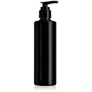 Black Plastic Cylinder Bottle with Lotion Pump 8.33 oz. - 250 mL. - Case of 80 Bottles (30070 X 80)