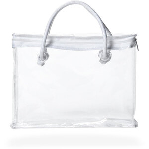 Clear Zipper Bag with White Piping and Rope Handle Case of 50 Bags - Individually Wrapped (23681 X 50)