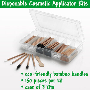 Eco-Friendly Bamboo Handle Disposable Cosmetic Applicator Kit - 150 Pieces per Kit Case of 3 Kits (30375 X 3)