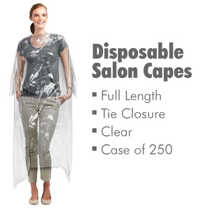 Full Length Disposable Salon Capes with Tie Closure - Clear 50 Pieces Per Bag X 5 Bags = Case of 250 Capes (504523 X 5)