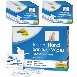 "Diamond Wipes® Individually Wrapped Instant Hand Sanitizer Wipes - 6"" X 5"" 100 per Box X 12 Boxes = Case of 1200 Wipes (93584 X 12)"
