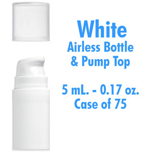 Airless Bottle and Pump - White with Clear Overcap - 5 mL. - 0.17 oz. Case of 75 (29939 X 75)