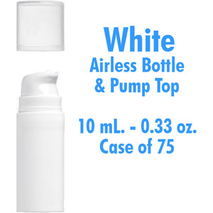 Airless Bottle and Pump - White with Clear Overcap - 10 mL. - 0.33 oz. Case of 75 (29940 X 75)