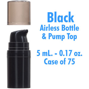 Airless Bottle and Pump - Black with Translucent Black Overcap - 5 mL. - 0.17 oz. Case of 75 (29984 X 75)