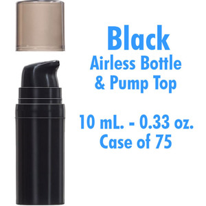 Airless Bottle and Pump - Black with Translucent Black Overcap - 10 mL. - 0.33 oz. Case of 75 (29985 X 75)