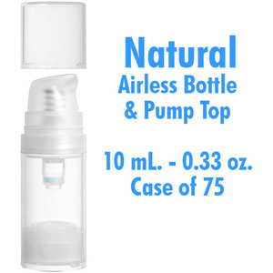 Airless Bottle and Pumo - Natural with Clear Overcap - 10 mL. - 0.33 oz. Case of 75 (30091 X 75)