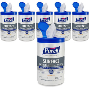 "Purell Professional Surface Disinfecting Wipes - 8"" x 7"" Each 1 Case = 110 Wipes per Canister X 6 Canisters