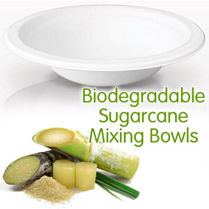 Biodegradable Disposable Sugarcane Mixing Bowls - White - 16 oz. Each 50 Pieces Per Pack X 8 Packs = 400 Mixing Bowls (10250 X 8)