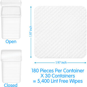 Lint-Free Non-Woven Wipes in Refillable Containers 180 Wipes Per Container X 30 Containers = 5400 Wipes (17702 X 30)