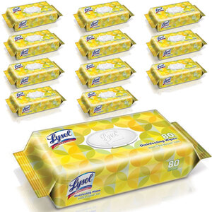 "Lysol® Disinfecting Wipes Lemon & Lime Blossom® Scent 7"" x 8"" Wipes 80 Wipes Per Pack Case of 12 Packs of 80 Wipes = 960 Wipes (93594 X 2)"