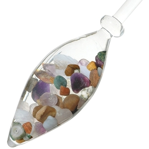 VitaJuwel Gem Water Gemstone Crystal Infuser Wand - Five Elements: Amethyst + Chalcedony + Petrified Wood + Rose Quartz + Ocean Chalcedony (01VJ5EL)