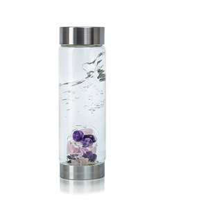 VitaJuwel ViA - Gem Water Bottle - Wellness: Rose Quartz + Amethyst + Rock Crystal (01VJVIABKAMRQ)