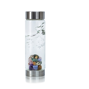 VitaJuwel ViA - Gem Water Bottle - 5 Elements: Amethyst + Chalcedony + Petrified Wood + Rose Quartz + Ocean Chalcedony (01VJVIA5EL)