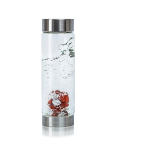 VitaJuwel ViA - Gem Water Bottle - Fitness: Red Jasper + Magnesite + Clear Quartz (01VJVIARJMABK)