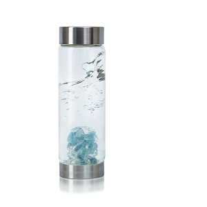 VitaJuwel ViA - Gem Water Bottle - Inner Purity: Aquamarine + Clear Quartz (01VJVIAAQ)