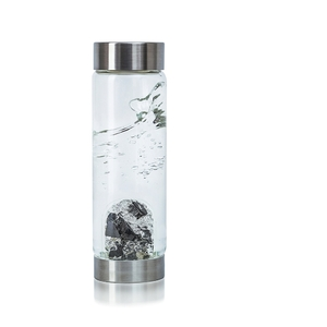 VitaJuwel ViA Crystal Edition - Gem Water Bottle - Vision: Noble Shungite + Clear Quartz (01VJVIAMEEDBK)