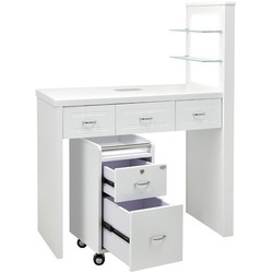 DIR Manicure Table Quartz with Dust Extractor and LED Lighting - Available in White Black or Grey (3777)