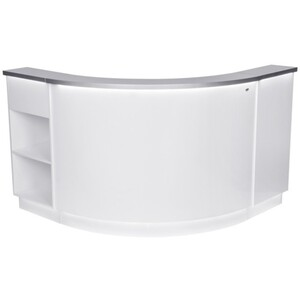 "DIR Reception Desk Janus with LED Lighting - Curved L-Shaped - Mix and Match 14"" Round Center Desk + Retail Display Cabinet(s) + Storage Cabinet(s) - Available in SilverWhite or SilverBlack