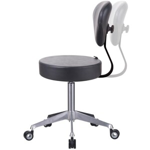"DIR Salon Stool - Medical Stool with Backrest 21.3"" - 32.7"" Seat Height (9157)"