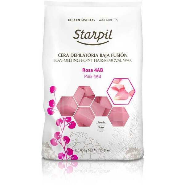 Starpil Pink Rose Petal - Stripless Hard Wax from Spain Non-Polymer 1 Kg. (2.2 Lbs.) Bag of Blocks X 4 Bags = 4 Kg. (8.8 Lbs.) Case (1522001 X 4)