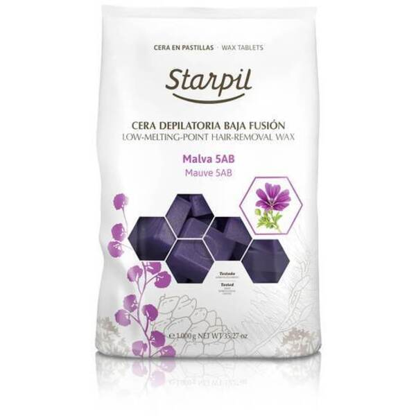 Starpil Purple Mauve - Stripless Hard Wax from Spain Non-Polymer 1 Kg. (2.2 Lbs.) Bag of Blocks X 4 Bags = 4 Kg. (8.8 Lbs.) Case (1522004 X 4)