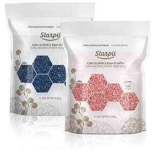 Starpil Blue Beads Film Wax + Starpil Pink Beads Film Wax Bundle - Stripless Hard Wax from Spain 80 oz Bag X 2 = 10 Lbs. 4.54 Kilograms Case (PINK-BEADS5LB+BLUE-BEADS5LB)