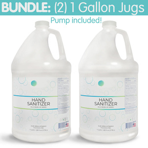 Premium Hand Sanitizer Gel - 70% Alcohol Bundle of (2) 1 Gallon Containers + Pump Top (HS1GAL-2PACK)