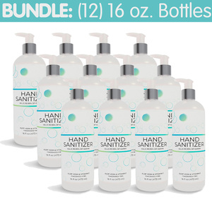 Premium Hand Sanitizer Gel - 70% Alcohol Bundle of (12) 16 oz. Pump Top Bottles (HS16OZ-12PACK)