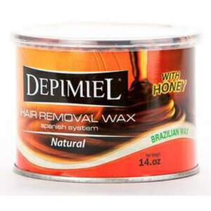Depimiel - Stripless Hard Wax From Brazil - Natural 14 oz. Cans Case of 12 Cans (5116-Case)