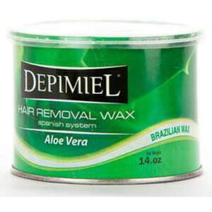 Depimiel - Stripless Hard Wax From Brazil - Aloe Vera 14 oz. Cans Case of 12 Cans (5126-Case)