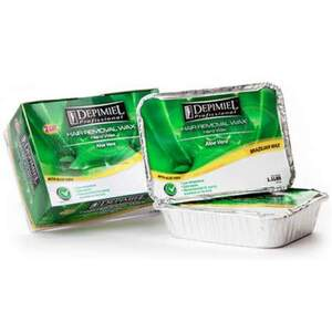 Depimiel - Stripless Hard Wax From Brazil - Aloe Vera Tray 2.2 lbs. per Tray Case of 6 Trays (5129-Case)