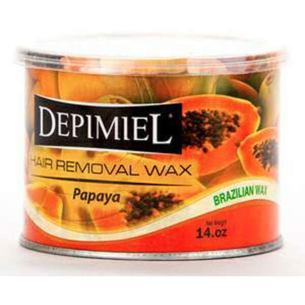Depimiel - Soft Strip Wax From Brazil - Papaya 14 oz. Cans Case of 12 Cans (5262-Case)