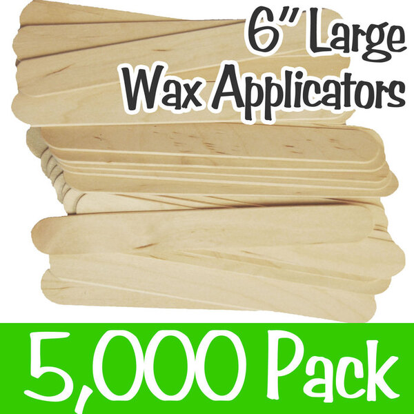 "Large Waxing Sticks - 6"" Long x 0.71"" Wide 10 Boxes of 500 = Case of 5000 (WTD-ADULT)"