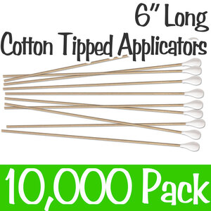 "6"" Cotton Tip Applicator with Wood Handle Case of 10000 (CTA-6)"